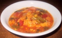 For Recipe Click Here - Soup? OCay Jun! (Cajun Chicken Kielbasa & Shrimp Soup)