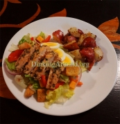 For Recipe Click Here -Tays Greek Chicken Marinade on Salad with tTts Spuddy Buddies