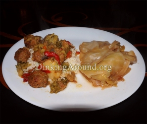 For Recipe Click Here - Curr-Conut Balls N Wet Cabbage (Coconut N Curry Meatballs with Vegis and Side of Cabbage)