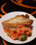 For Recipe Click Here - Parmy Porkies/Piggies on Tomato Piles (Parmesan Pork (Or Chicken) over Delicious Tomato Rice)
