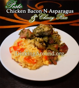 For Recipe Click Here - Pestered Chicks N Pigs Rollin in Cheesy Piles (Pesto Chicken Bacon w/ Asparagus over Cheesy Rice N Peppers)